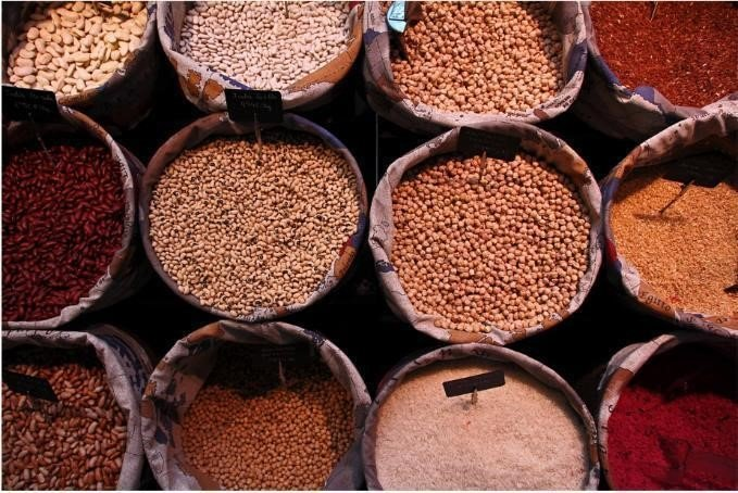 Selection of beans and spices